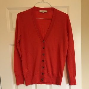 The Loft orange cardigan